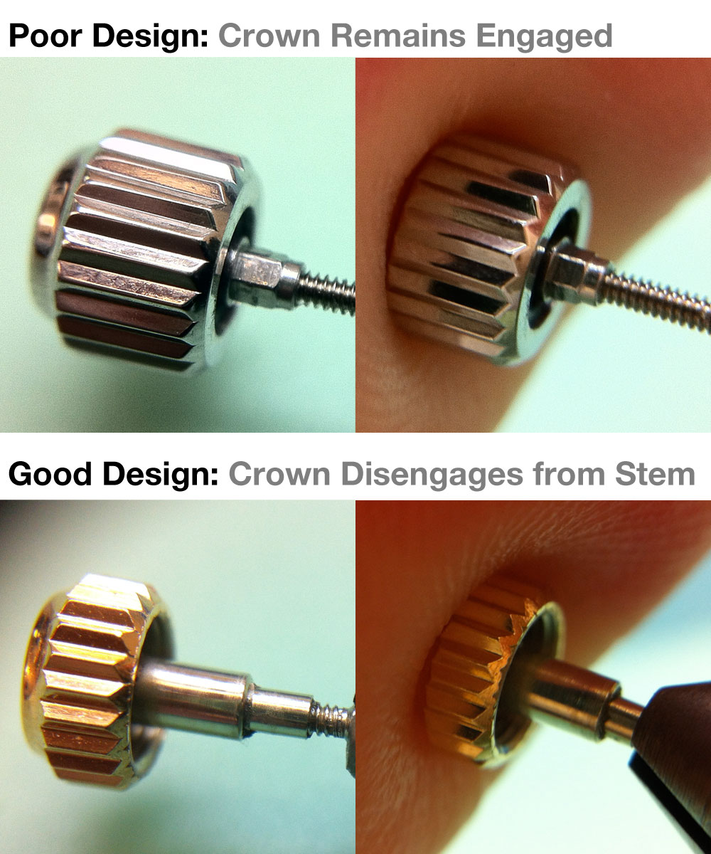Comparison of screw down crowns - Good design vs. bad design